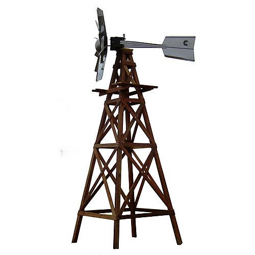 OWS Kit de moulin à vent en bois - Tête ornementale galvanisée avec des plans en bois et du matériel