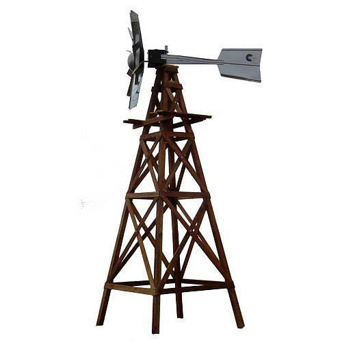 OWS Wood Windmill Kit - Galvanized Ornamental Head with Wood Plans and Hardware