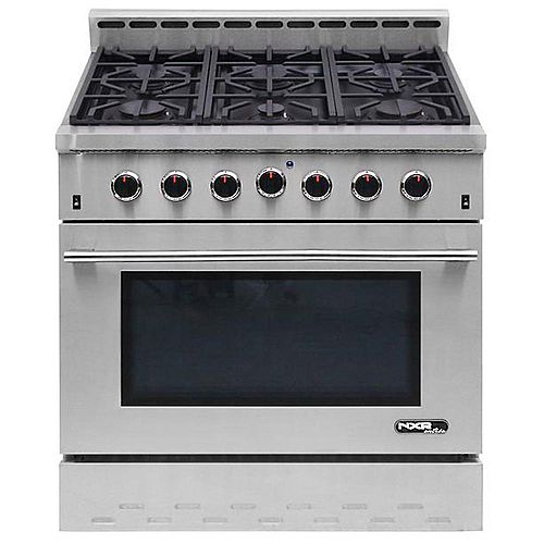 NXR Entrée 36-inch 5.5 cu. ft. Professional Style Gas Range with Convection Oven in Stainless Steel
