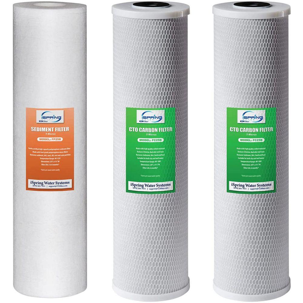 iSpring 3 -Étape 20 po Paquet de 3 pièces de filtres pour maison