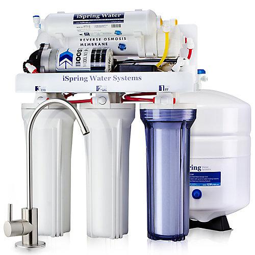 Système de filtration d'eau potable à 5 étages 100 GPD à osmose inverse avec pompe de surpression