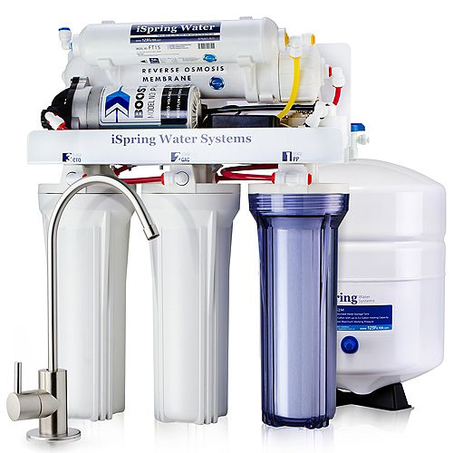 iSpring 5-Stage 100 GPD Under Sink Reverse Osmosis Drinking Water Filtration System with Booster Pump