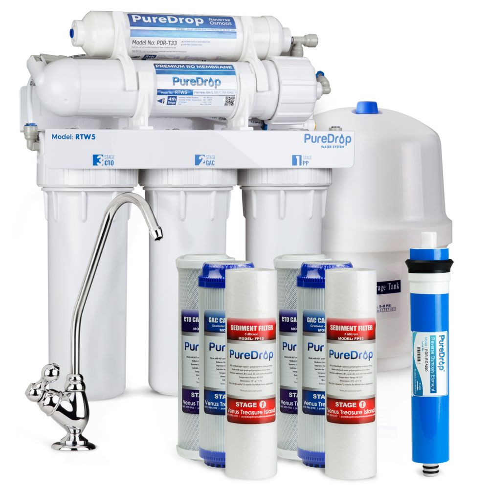 PurDrop 5 Stage Reverse Osmosis Water Filtration System with Pre-Filter Kit RTW5