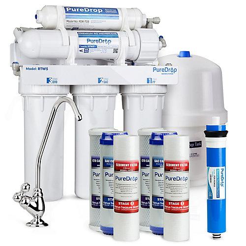 Système de filtration d'eau par osmose inverse à 5 étapes avec kit de pré-filtre