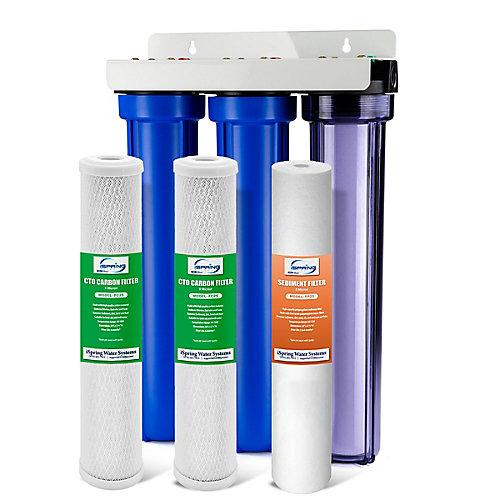 3 - Étape 20 po Filtre à 3/4 po Carbone NPT et boîtier transparent