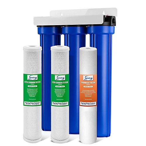 3 - Étape  20 po Filtre à eau pour toute la maison avec 3/4 po NPT Carbone