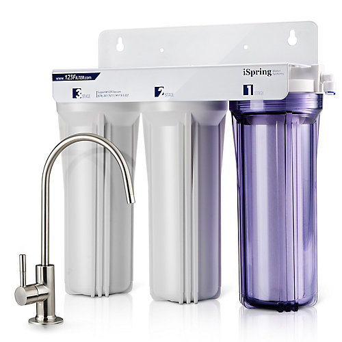 Système de filtration de l'eau potable sans réservoir à haute capacité à 3 étages sous évier