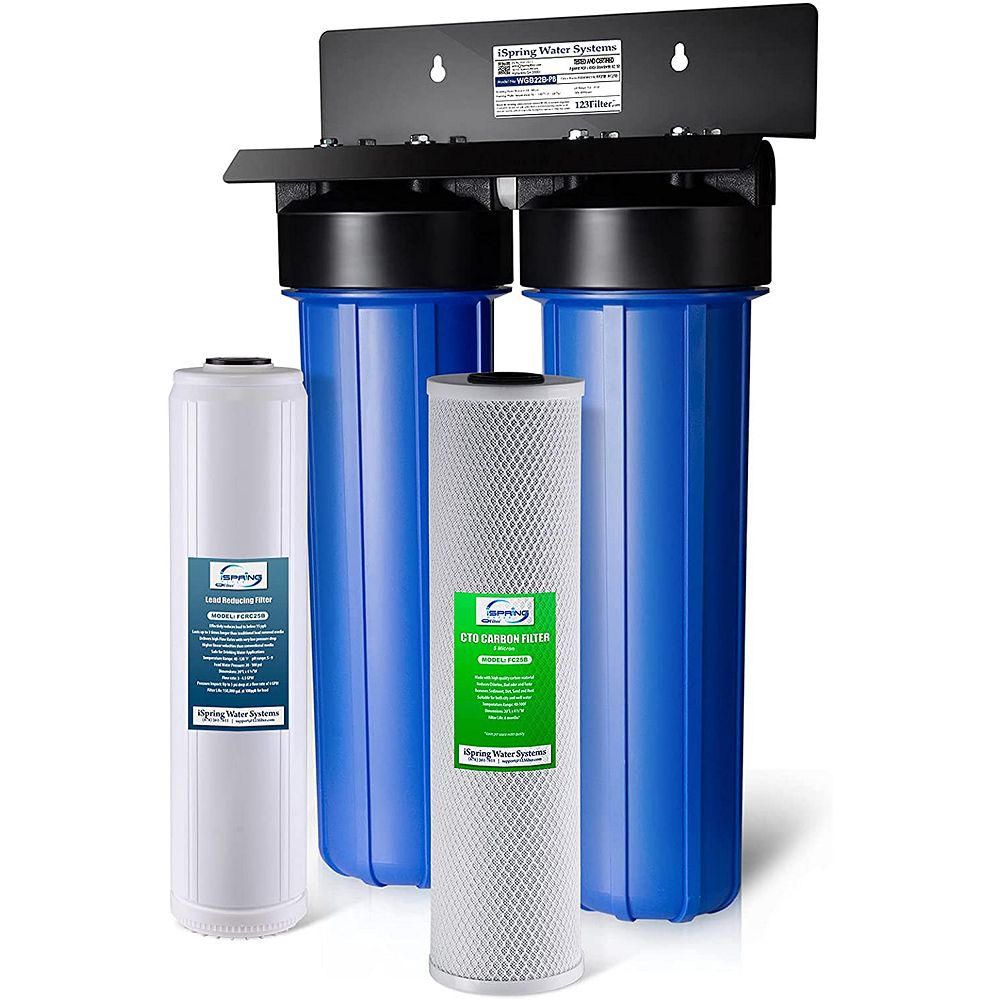 iSpring LittleWell Lead Iron Chloride Reducing 2-Stage 80,000 Gal. Big Blue Whole House Water Filter