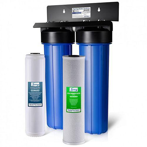 Filtre à eau résid. à 2 étapes contre plomb, fer et chlore Big Blue de LittleWell, 80 000 gal
