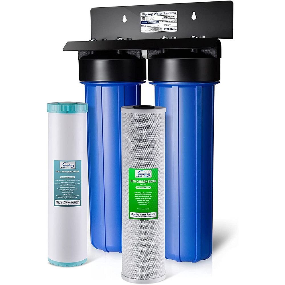 iSpring Système de filtration d'eau en 2 étapes Filtre réducteur de bloc de carbone, fer et de manganèse