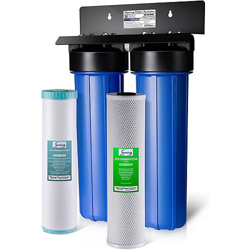 Système de filtration d'eau en 2 étapes Filtre réducteur de bloc de carbone, fer et de manganèse
