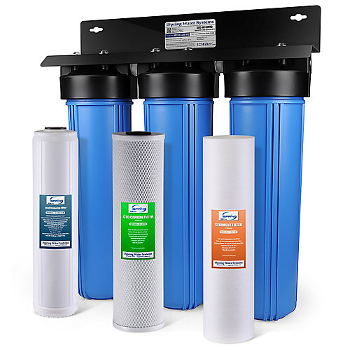 Filtre à eau  Big Blue avec sédiments, bloc de carbone, cartouche d'élimination du plomb