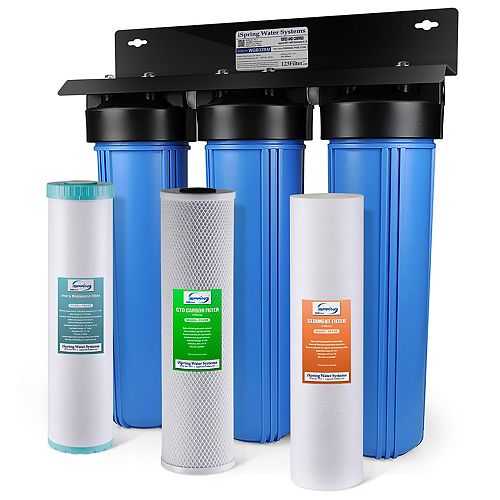 3-Stage Iron, Manganese Reduction Whole House Water Filter with Sediment and Fine Carbon Block