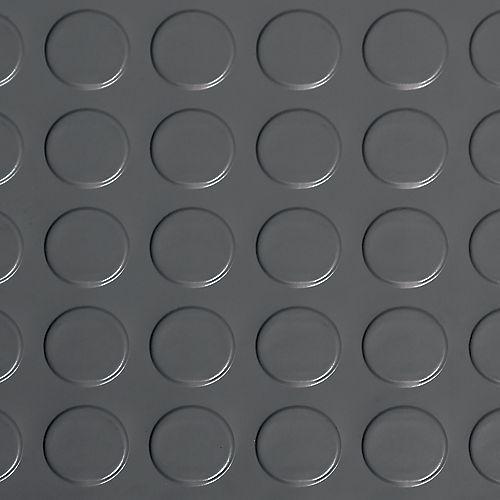 Revêtement protecteur à relief en pastilles de qualité commerciale en vinyle, 5 x 10 pi, gris