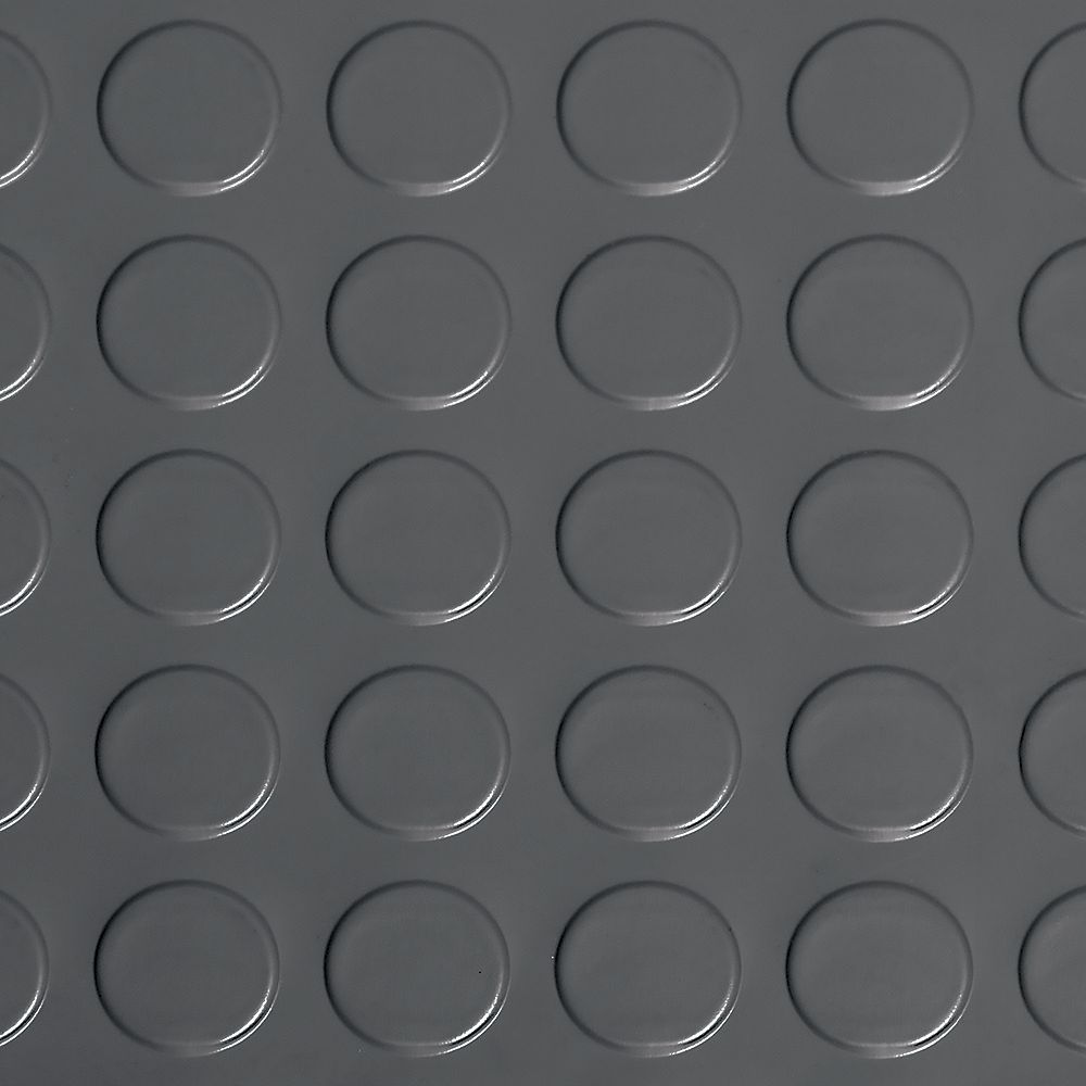 G-Floor Revêtement de sol à relief en pastilles de qualité commerciale Coin, 10 x 24 pi, vinyle, gris