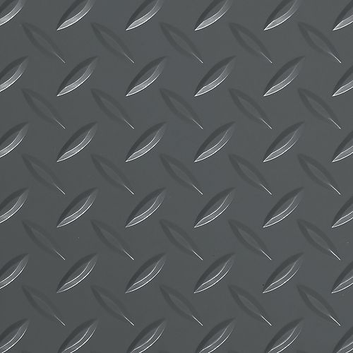 Revêtement de sol de garage de qualité commerciale, 5 pi x 10 pi, vinyle, Diamond Tread, gris ardoise