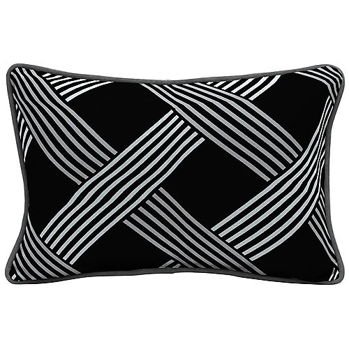 Black Lattice Lumbar Patio Throw Pillow