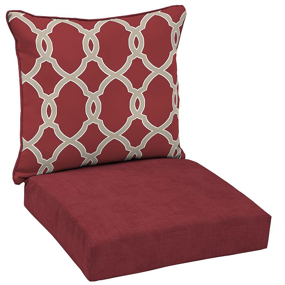 Hampton Bay Jeanette 2-Piece Outdoor Deep Seating Lounge Chair Cushion in Geometric Trellis Pattern