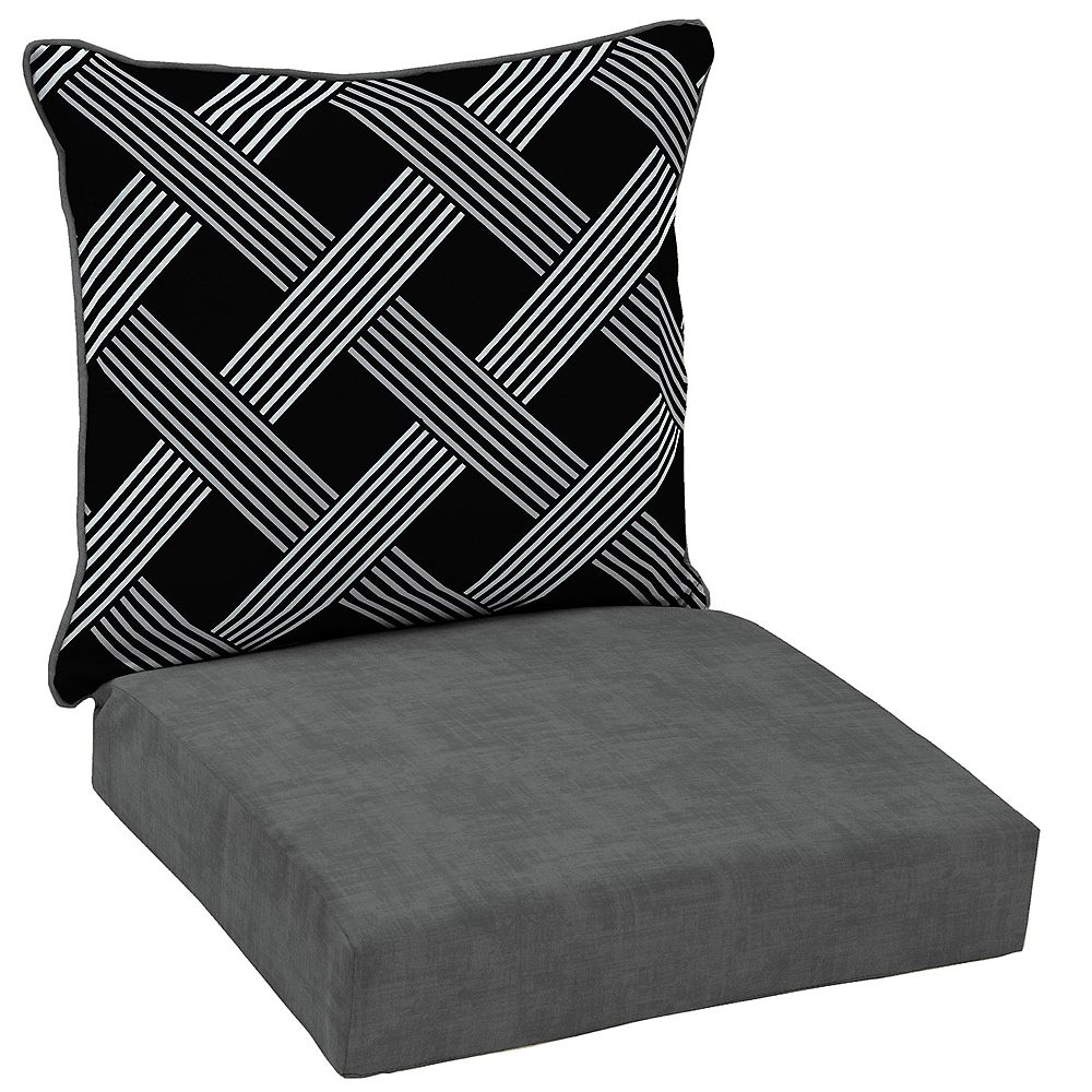Hampton Bay 2-Piece Deep Seating Outdoor Lounge Chair Cushion in Black Lattice Pattern