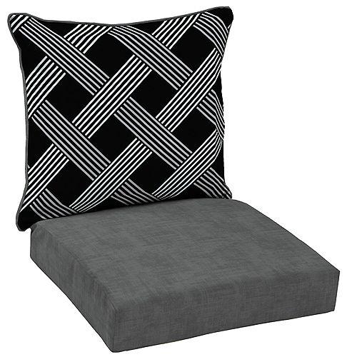 Black Lattice 2-Piece Deep Seating Lounge Chair Cushion