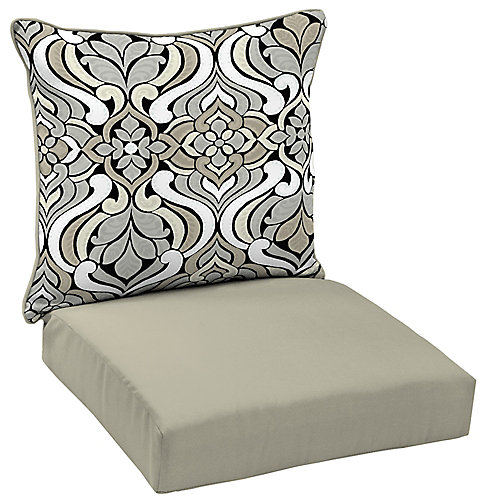 Coussin pour chaise longue profonde d'extérieur à deux pièces à motif de carreau noir et gris