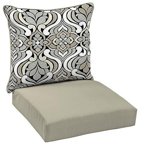 Black & Gray Tile 2-Piece Deep Seating Lounge Chair Cushion