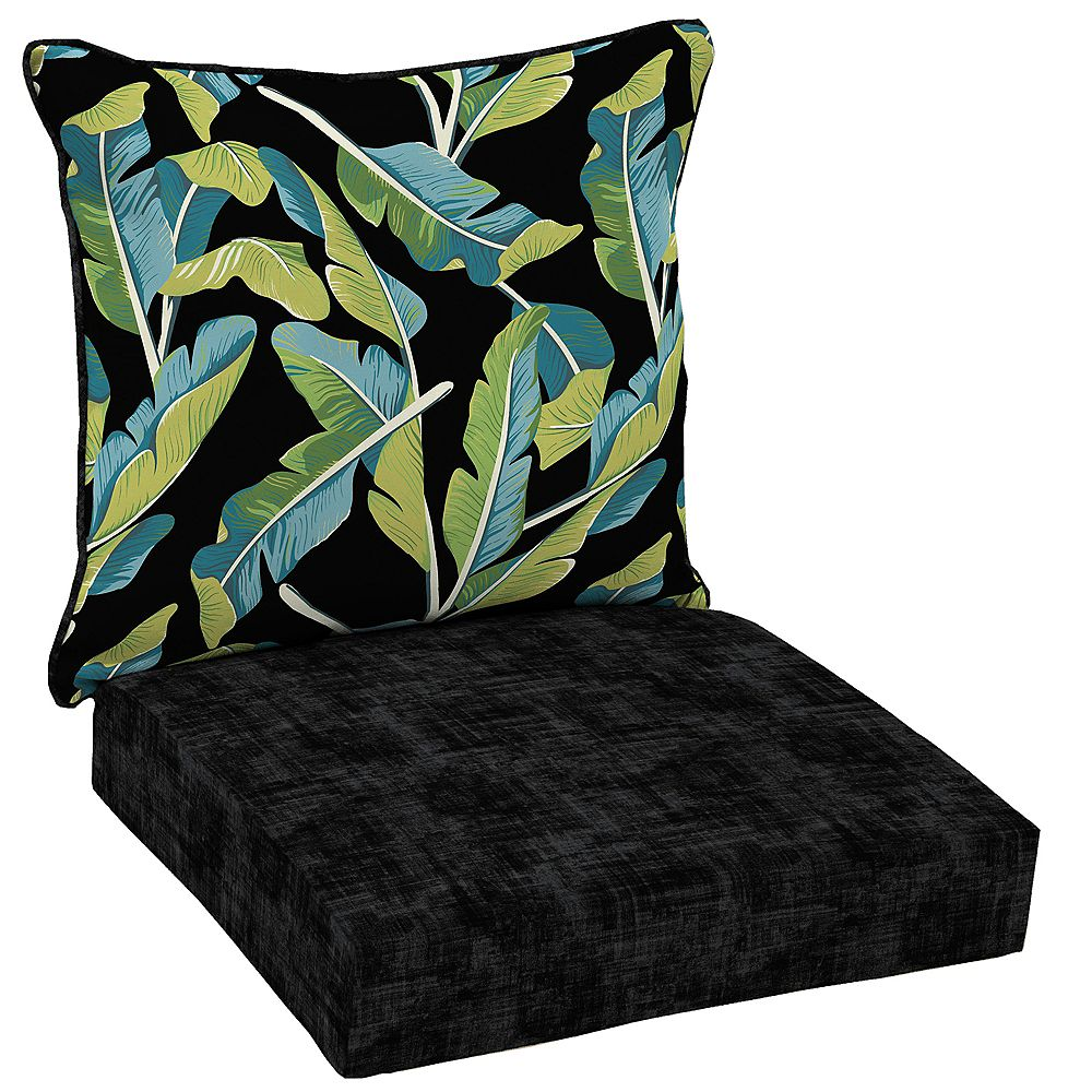 Hampton Bay 2-Piece Deep Seating Welted-Back Outdoor Lounge Chair Cushion in Banana Leaf Tropical Pattern