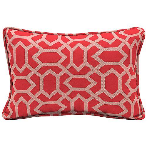 Hampton Bay Coussin lombaire d'appoint d'extérieur à motif géométrique couleur rubis CushionGuard