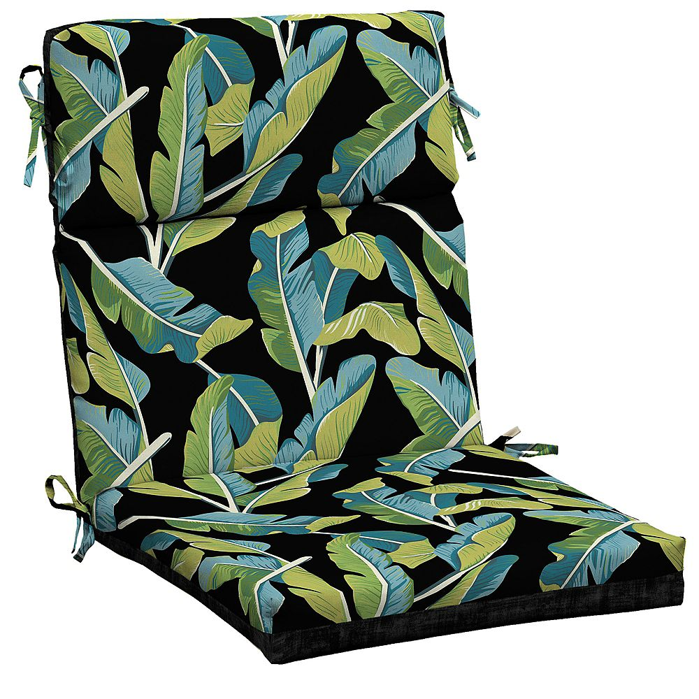 Hampton Bay High-Back Fade-Resistant Outdoor Dining Chair Cushion in Banana Leaf Tropical Pattern