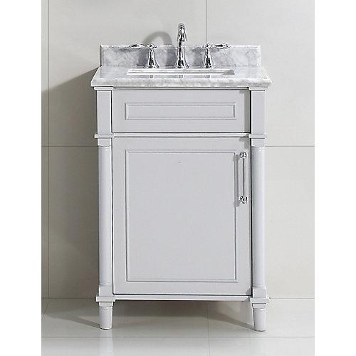 Aberdeen 24 po Gris avec un lavabo blanc et un comptoir en marbre Carrare