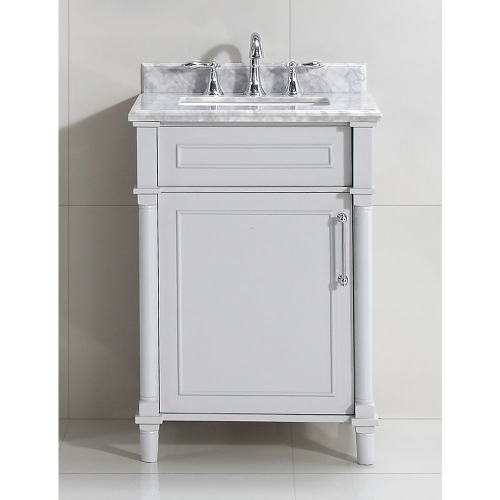Home Decorators Collection Aberdeen 24 Inch W X 20 Inch D Bath Vanity In Dove Grey With Ca The Home Depot Canada