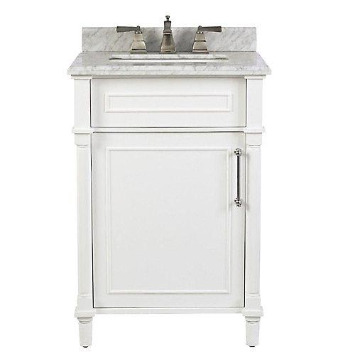 Aberdeen 24 po Blanc avec un lavabo blanc et un comptoir en marbre Carrare