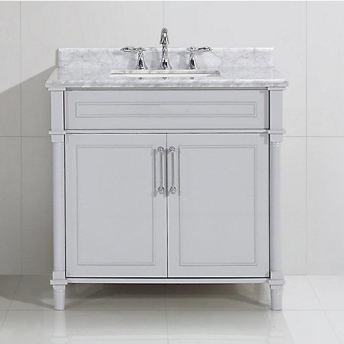 Aberdeen 36 po Gris avec un lavabo blanc et un comptoir en marbre Carrare