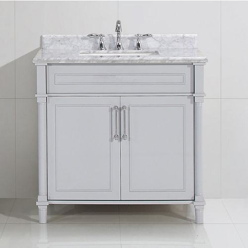 Home Decorators Collection Aberdeen 36-inch W x 22-inch D Single Bath Vanity in Dove Grey with Carrara Marble Top with White Sink