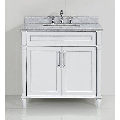 Aberdeen 36 po White avec un lavabo blanc et un comptoir en marbre Carrare