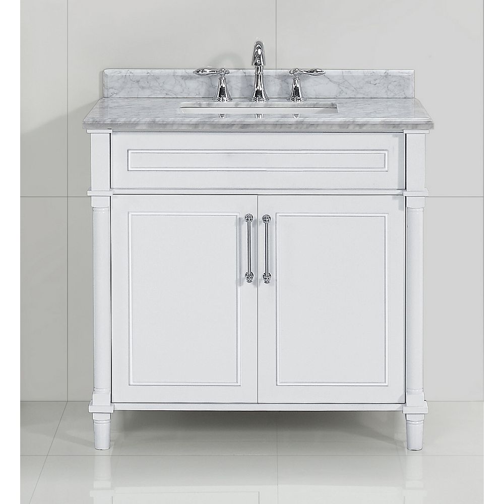 Home Decorators Collection Aberdeen 36 po White avec un lavabo blanc et un comptoir en marbre Carrare