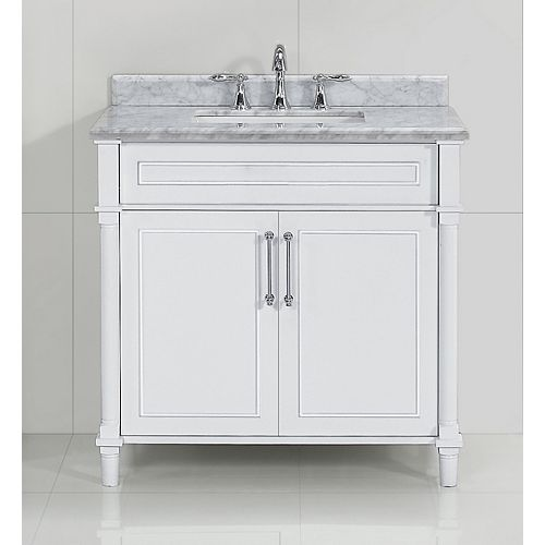 Aberdeen 36-inch W x 22-inch D Single Bath Vanity in White with Carrara Marble Top with White Sink