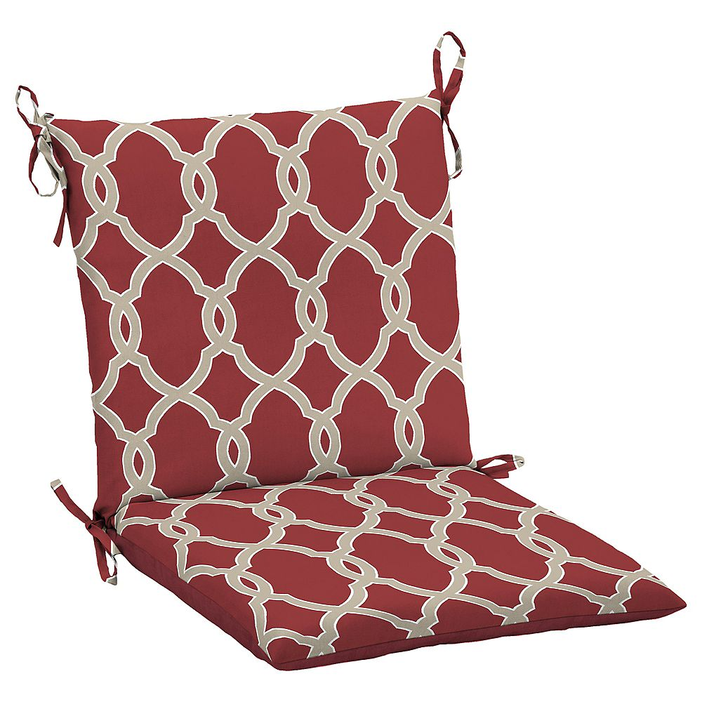 Hampton Bay Jeanette Fade-Resistant Outdoor Dining Chair Cushion in Geometric Trellis Pattern