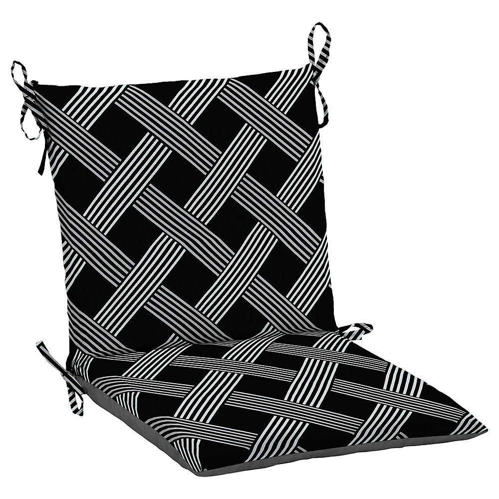 Hampton Bay Fade-Resistant Outdoor Dining Chair Cushion in Black Lattice Pattern