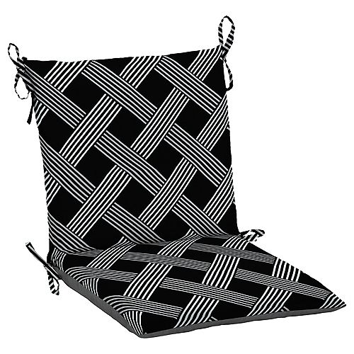 Fade-Resistant Outdoor Dining Chair Cushion in Black Lattice Pattern