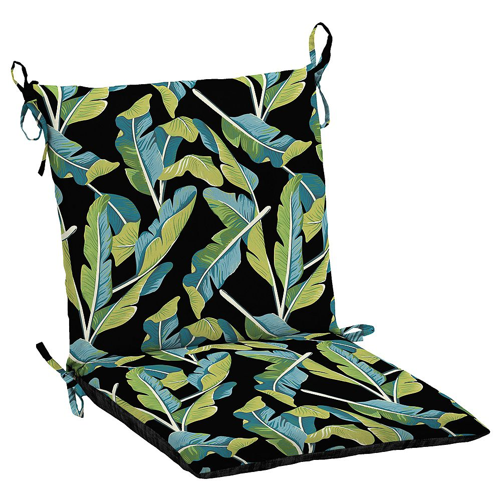 Hampton Bay Fade-Resistant Outdoor Dining Chair Cushion in Banana Leaf Tropical Pattern