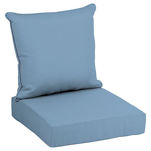 Coussin pour chaise longue profonde d'extérieur à deux pièces couleur denim délavé CushionGuard