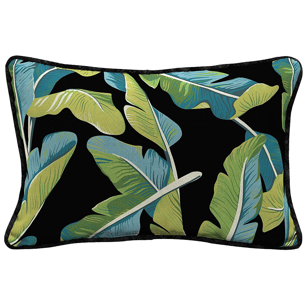 Hampton Bay Fade-Resistant Outdoor Lumbar Throw Pillow in Banana Leaf Tropical Pattern