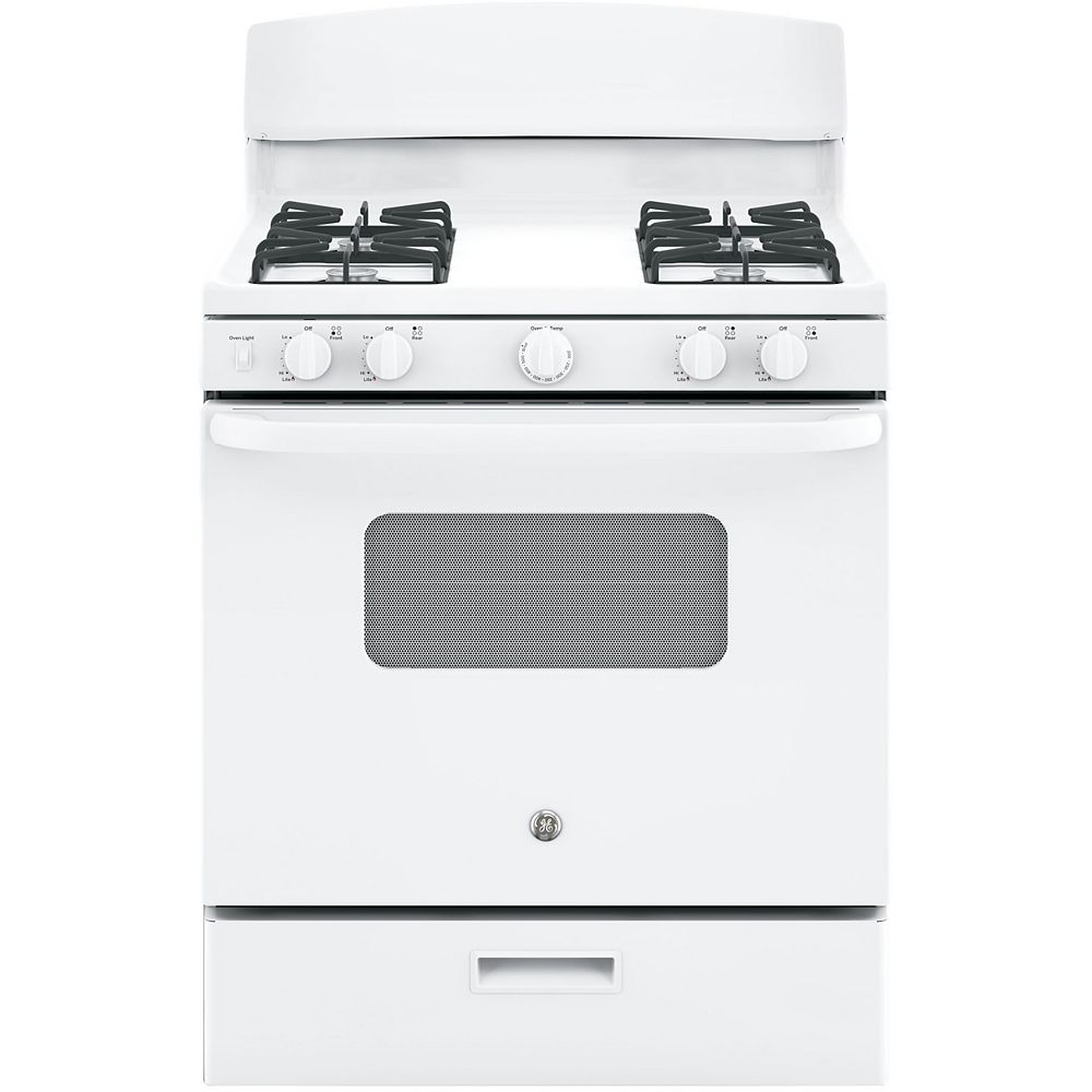 GE 30-inch 4.8 cu. ft. Single Oven Gas Range with Manual Clean in White