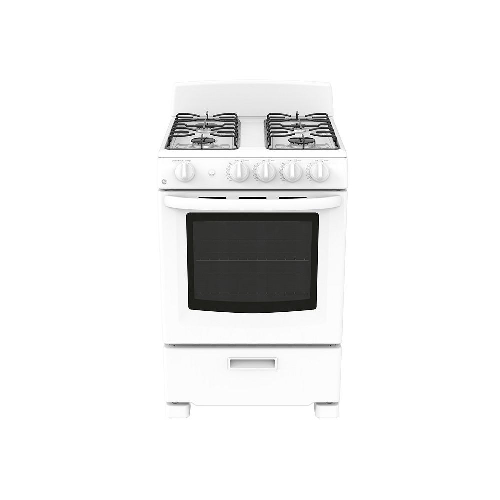 GE 24-inch 2.9 cu. Ft. Single Oven Gas Range with Manual Cleaning in White