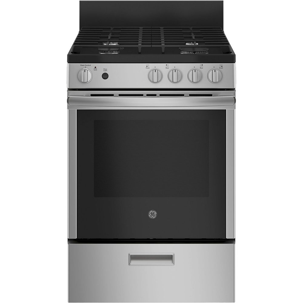 GE 24-inch 2.9 cu. ft. Single Oven Gas Range with Self Cleaning in Stainless Steel