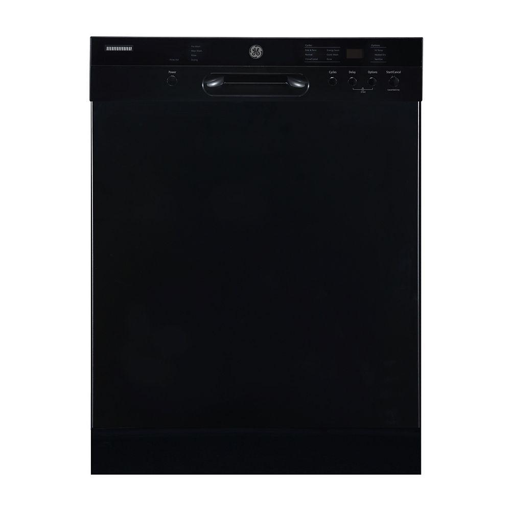 GE Lave-vaisselle encastré à commande frontale de 24 po avec cuve en acier inoxydable de couleur noire
