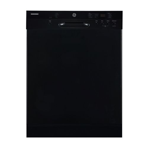 GE 24-inch Front Control Built-In Dishwasher with Stainless Steel Tub in Black