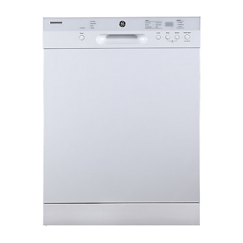 24-inch Front Control Built-In Dishwasher with Stainless Steel Tub in White