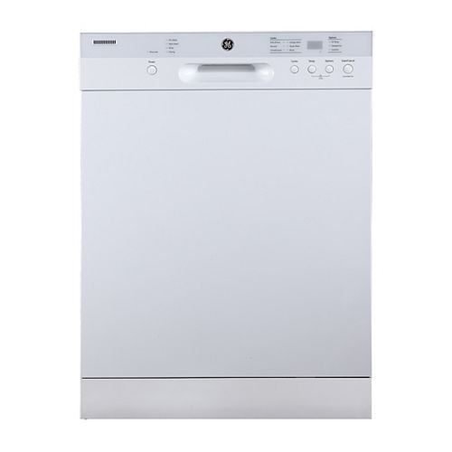 GE 24-inch Front Control Built-In Dishwasher with Stainless Steel Tub in White